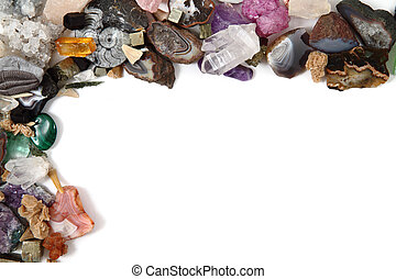 mineral collection as frame - mineral collection isolated on...