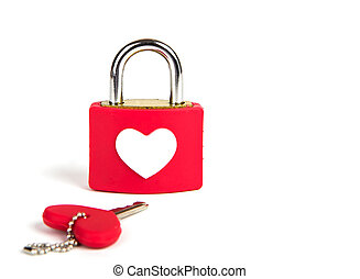 Heart padlock and key on a white background