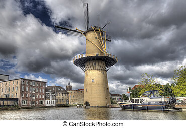 Giant Windmill - Large stone historical windmill in...