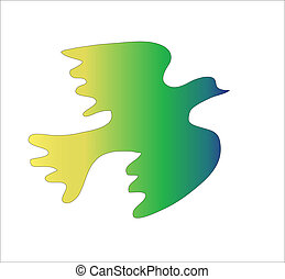 Green bird on a white background