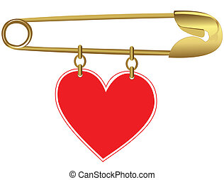 Golden Pin with a Heart