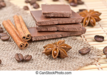 pieces of chocolate, cinnamon, star anise and coffee