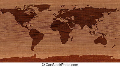 Cedar Wood World map - World map on cedar wood NASA map from...