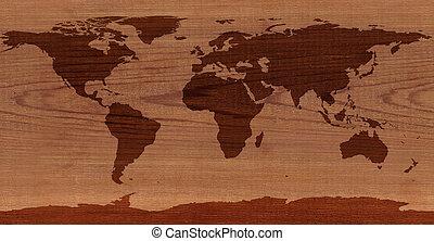 Cedro, madera, mundo, mapa