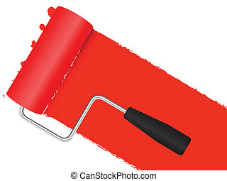 Paint roller background - Paint roller applying red paint to...