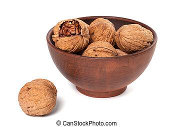 Walnuts in ceramic plate