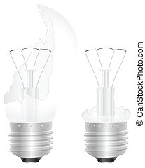 broken light bulb - Broken light bulb on a white background....