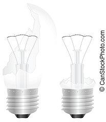 broken light bulb - Broken light bulb on a white background...