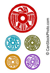 mayan symbols - five mayan symbols, animals and human