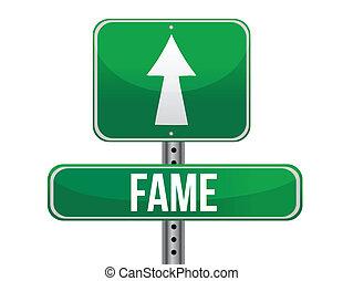 Fame road sign illustration design over a white background