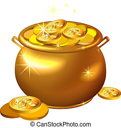 vector St Patrick`s Day gold pot with coins - vector St...