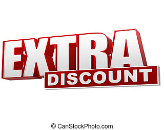 extra discount red white banner - letters and block
