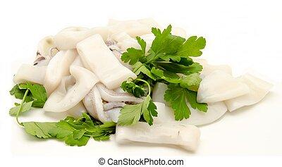 Raw fish on white fodo