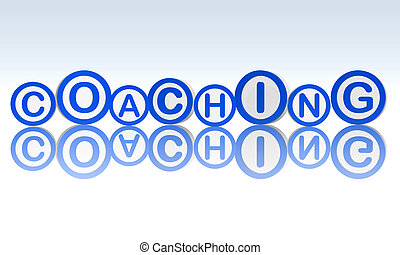 coaching in blue circles - coaching text in 3d blue rings,...