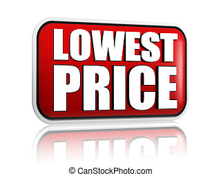 lowest price in red banner - lowest price button - 3d red...