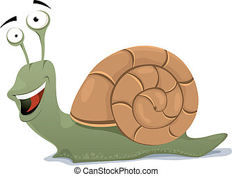 Happy Snail Character - Illustration of a cartoon happy and...