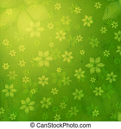striped flowers in green old paper background
