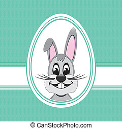 happy easter bunny white egg green background