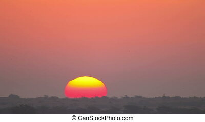 Indian sunrise. - Sun rising in northwestern India....