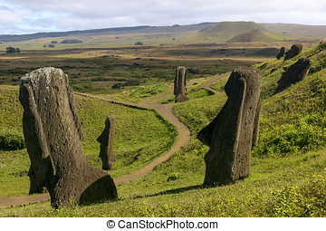 Moais at Rano Raraku, Easter Island - Several moais on...
