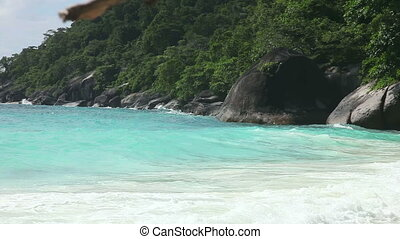 Similan seascape - Andaman sea waves crushing against the...