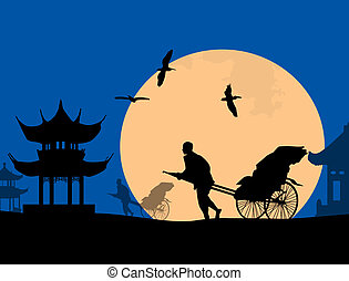 Chinese rickshaw in old Beijing at blue sunset, vector...