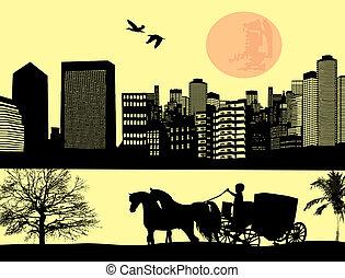 dos, caballo, dibujado, carruaje, ciudad, paisaje