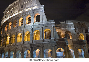 Coliseum in the night close up