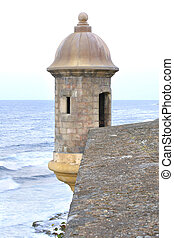 Turret at the fortress of San Juan - Turret at the corner of...