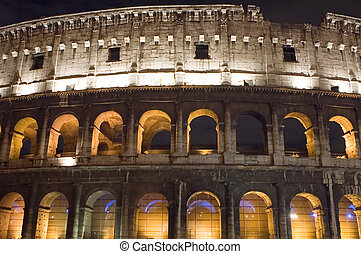 Italy Coliseum in the night close up