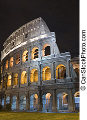 Italy Coliseum in the night - Italy Older amphitheater -...