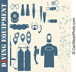 Vector set web icons diving and mask
