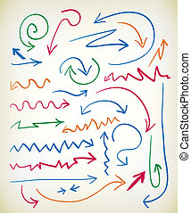 Set of hand drawn arrows in various colored inks with zig...