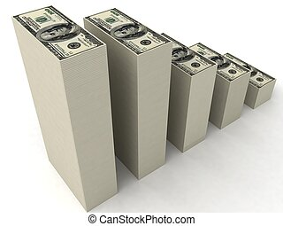 stacks of dollars - three dimensional stacks of dollars