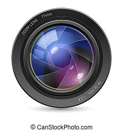 Camera icon lens - Camera icon Lens Illustration on white...