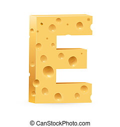 Letter made of Cheese - Cheese font E letter Illustration on...