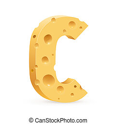 Letter made of Cheese - Cheese font C letter Illustration on...