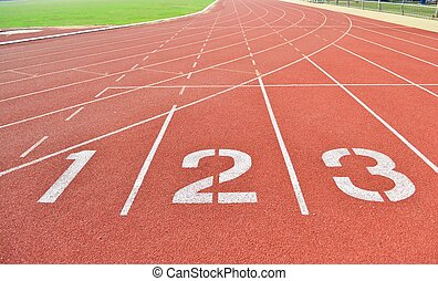 Athletics Track Lane and Numbers