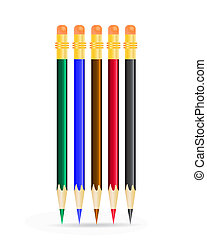 Color Pencils on white background.
