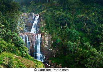 Large waterfalls in green tropical forest