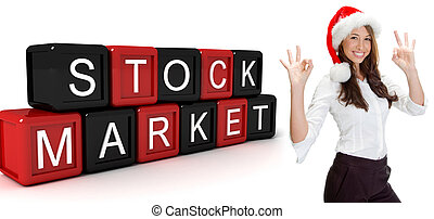 three dimensional building blocks with stock market text and...