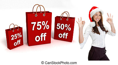 three dimensional shopping bags and woman with santa hat on...