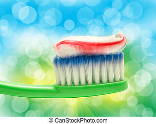 Close up of toothbrush