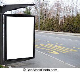Blank billboard at the bus stop