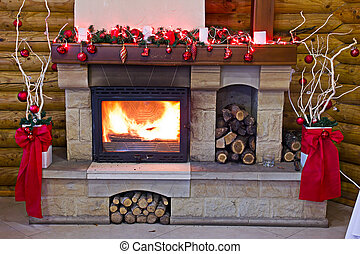 Fireplace flames in winter Christmas Scene