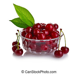 fresh cherry berries with green leaf isolated on white