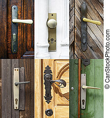 Antique door handles collage
