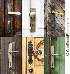 Antique door handles collage