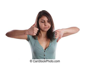 indeciso, mulher, um, polegar, cima, um, polegar, BAIXO