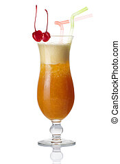 Glass of alcohol cocktail with cherry isolated on white
